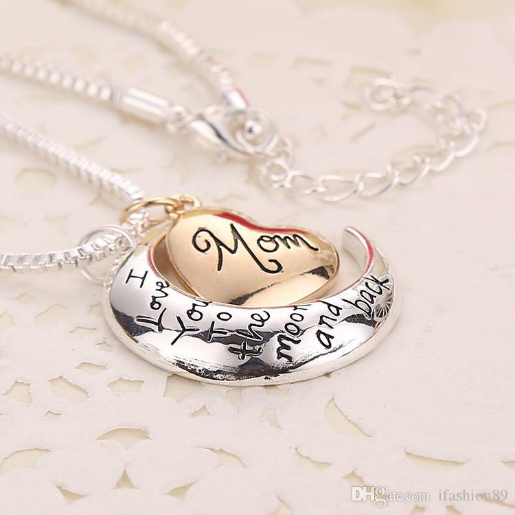 Сердце ювелирные изделия Я люблю тебя до Луны и обратно мама ожерелье День Матери Подарок Оптовая ювелирные изделия DHL Free