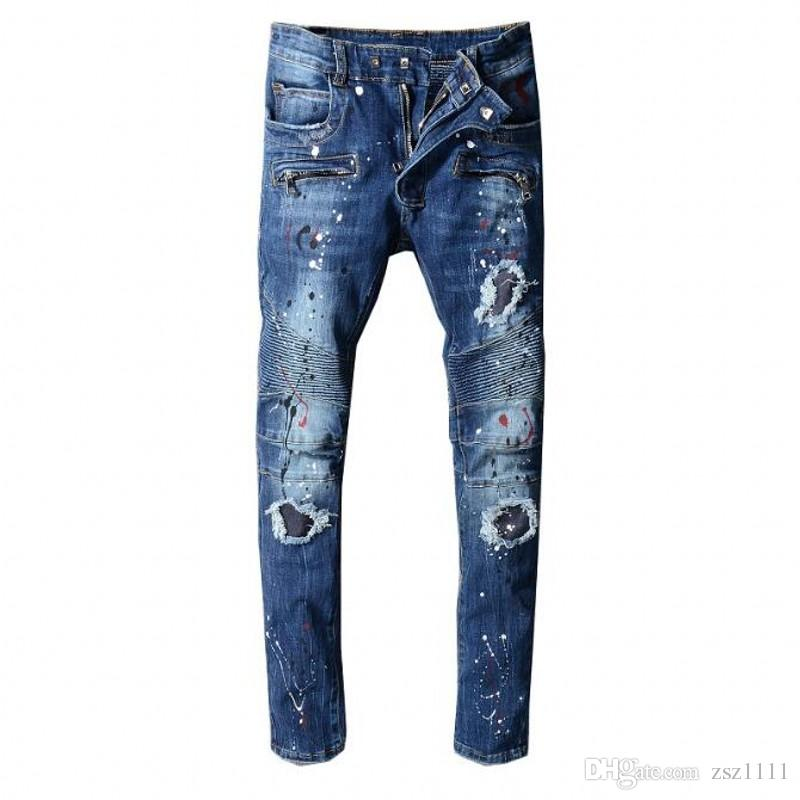 Nouvelle marque jeans de vente chaude moto pour hommes denim serré Jeans designer de haute couture célèbre Patch jeans pantalon