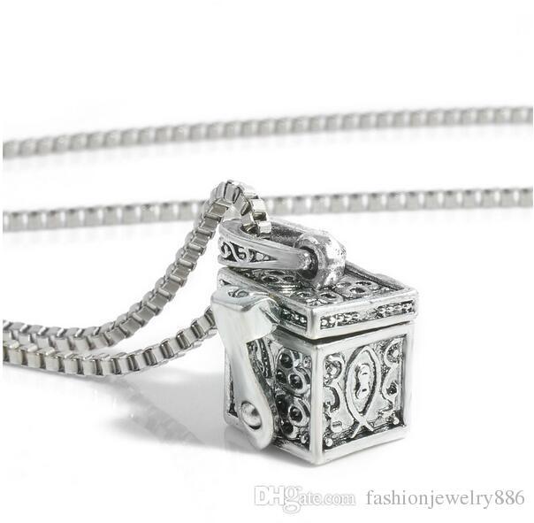 Retro Open Box Lockets Charm Pendant Necklace Chain Antique Silver Alloy Necklaces For Women Lady