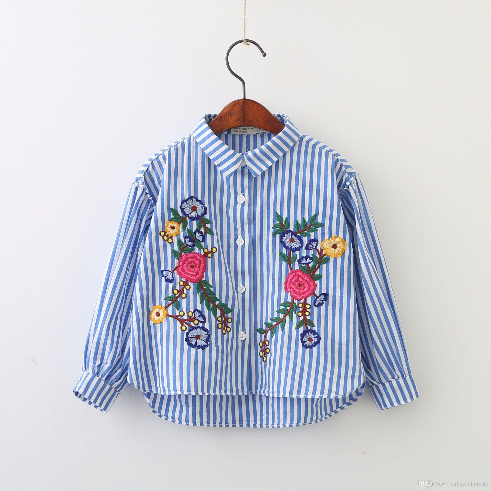 Spring Kids Girls Embroidery Floral Shirts Baby Girls Fashion