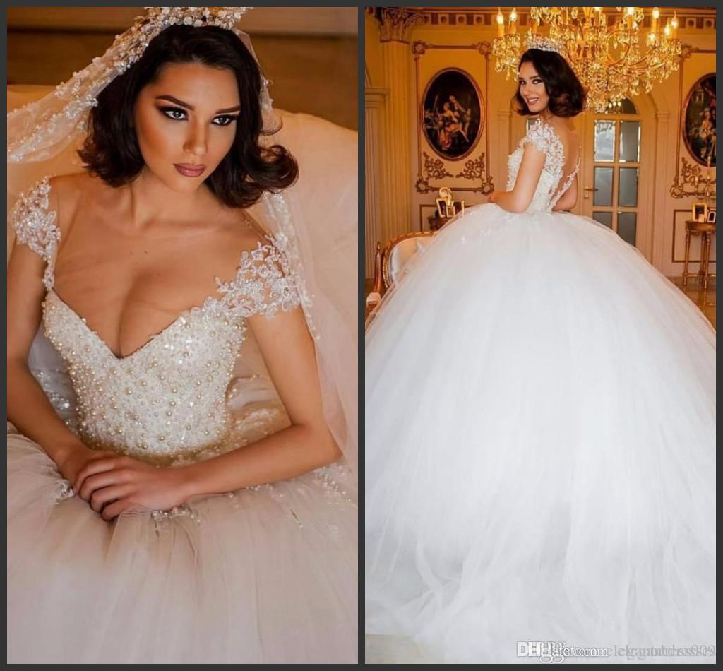 2018 New Arrival Pearls Ball Gown Wedding Dresses Beaded Sheer V Neck Applique Sweep Train Wedding Dress Bridal Gowns Vestidos De Noiva
