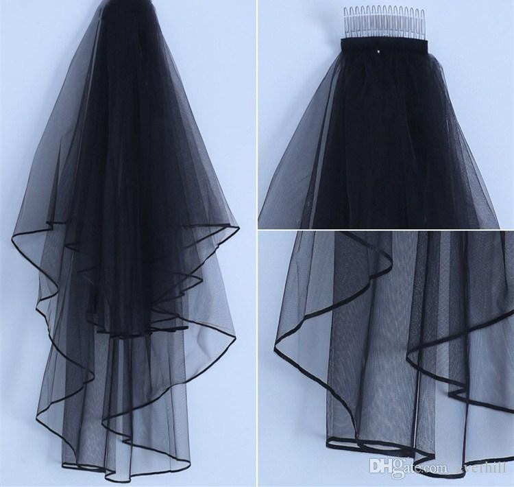 Jane Vini 2018 Black Bridal Veil 2 Layers Wedding Veil with Comb White Ivory Bridal Veils Short Ribbon Edge Bride Tulle Wedding Accessories