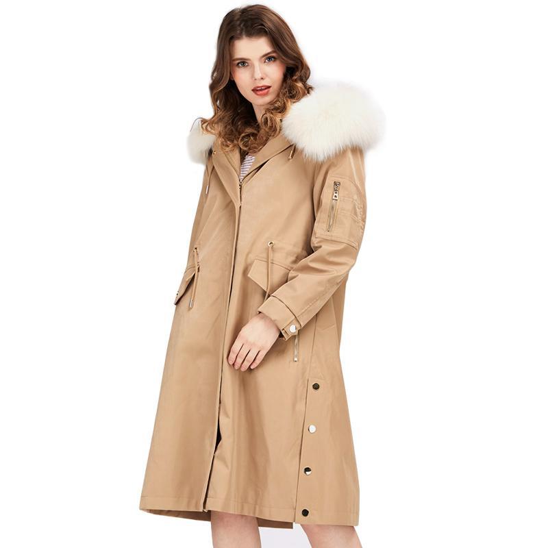 wholesale Fashion Women's Long Parka Hooded Zipper Full Sleeve Fur Coat Outwear 100% Fox Fur Collar Rex Rabbit Inner Parka