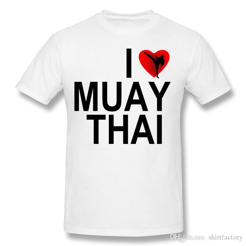 Moda masculina 100% algodão tecido tailandês boxe eu amo muay thai t-shirt dos homens gola redonda azul escuro gola redonda camiseta grande tamanho impresso em
