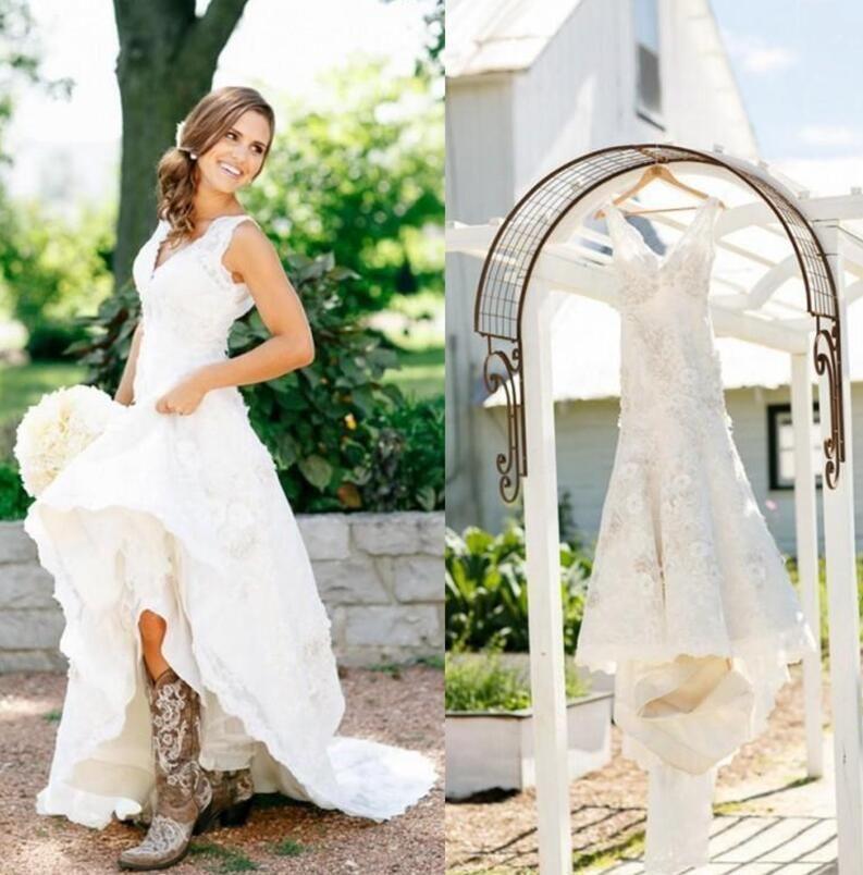Rustique Cowgirl Bottes Dentelle Robes De Mariée Boho Pays Robes De Mariée Applique Robes De Mariée V-Neck Bohème Robes De Mariée Sur Mesure 2018