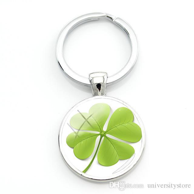 Lucky Clover vente chaude ronde Keychain beau design trèfle à quatre feuilles clé de verre Bague de bijoux élégant pour cadeau