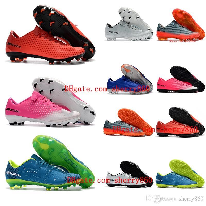 2018 رجل منخفض أحذية كرة القدم في الأماكن المغلقة الفتيان أحذية كرة القدم CR7 Mercurical النصر السادس TF العشب كرة القدم للأطفال المرابط الزئبقي إمرأة أطفال رخيصة