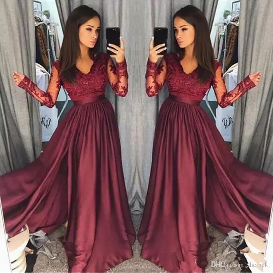 2018 Borgoña mancha con cuello en V de encaje apliques largos vestidos de baile mangas largas escarpadas una línea de cremallera espalda formal vestidos de noche de la fiesta por encargo