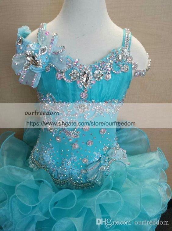 Cute Girl's Glitz Pageant Dresses 2019 Sparkly Beaded Crystal Ruffles Organza Flower Girls Dresses Toddler First Communion Dresses Custom