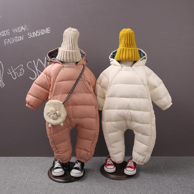 Baby Menina Casaco de Inverno Crianças Quente Jumpsuit Crianças Zíper Infantil Puffer Bombado Recém-nascido Romper Terno Roupas Baixo Jacket