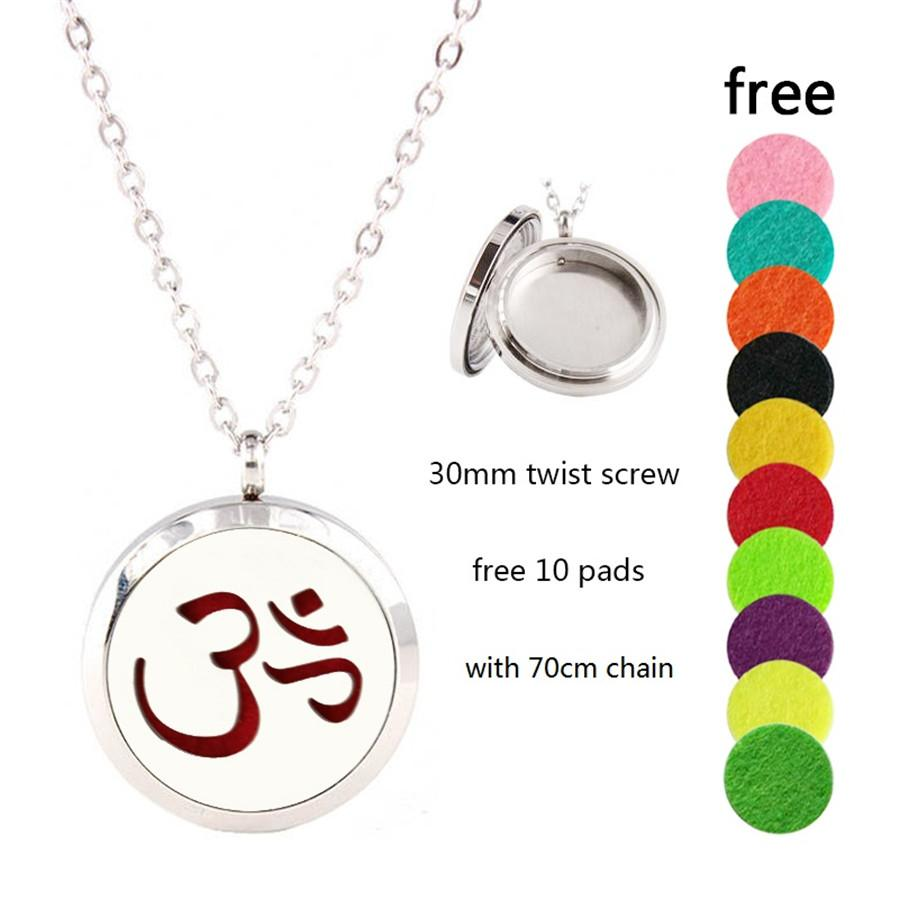 With 10p pads as gift! high quality 316l stainless steel perfume essential oil aromatherapy difffuser locket necklace