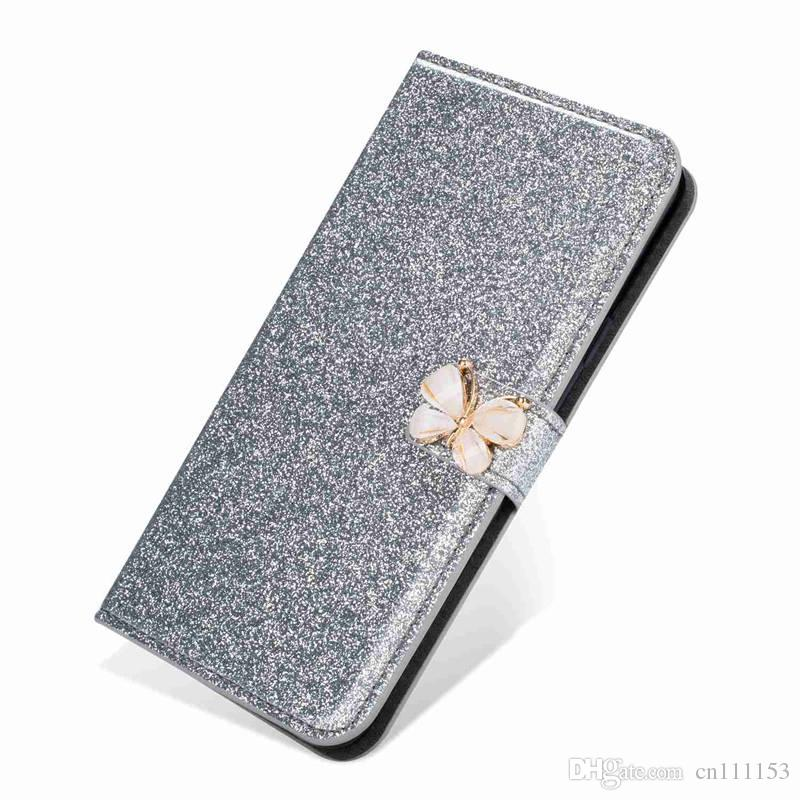 Wholesale Wallet Case For Huawei P20 Pro P20 Lite P20 Mate10 Pro P10 Lite P10 Glitter Shine and Butterfly Card Holder Case