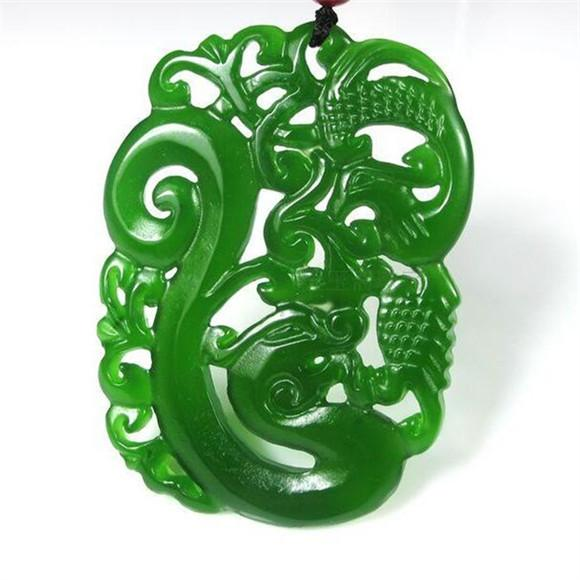 100/% China/'s natural jade nephrite carving black jade pendant Dragon gift bag