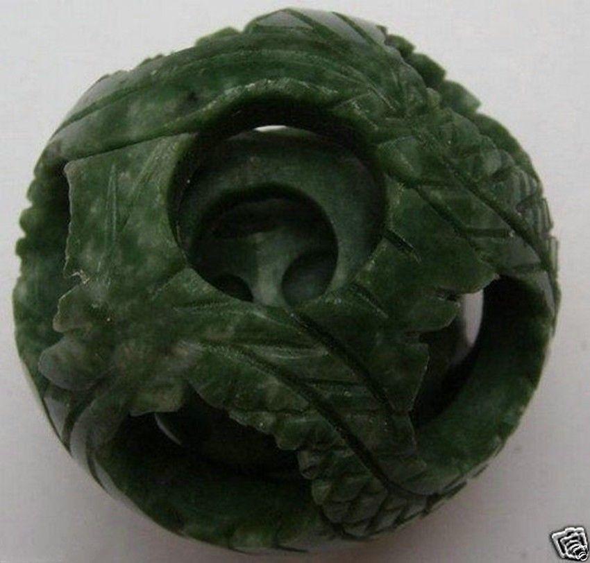 55mm Splendiferous Chinese jade flower magic Puzzle Ball + Stand Free shipping