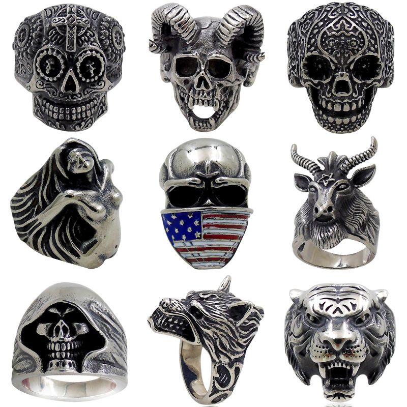 Бесплатная доставка смешанные 13 шт. высокое качество готический панк ассорти Оптовая много череп стиль мужские старинные тибетские кольца