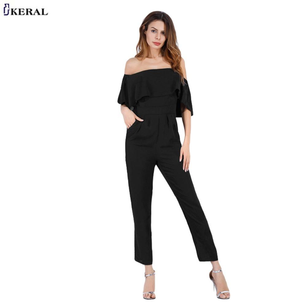 Miss  New Fashion Jumpsuit Women Off Shoulder Elegant Jumpsuits Romper Summer Bodysuit Beach Slim Loose Playsuits for Women