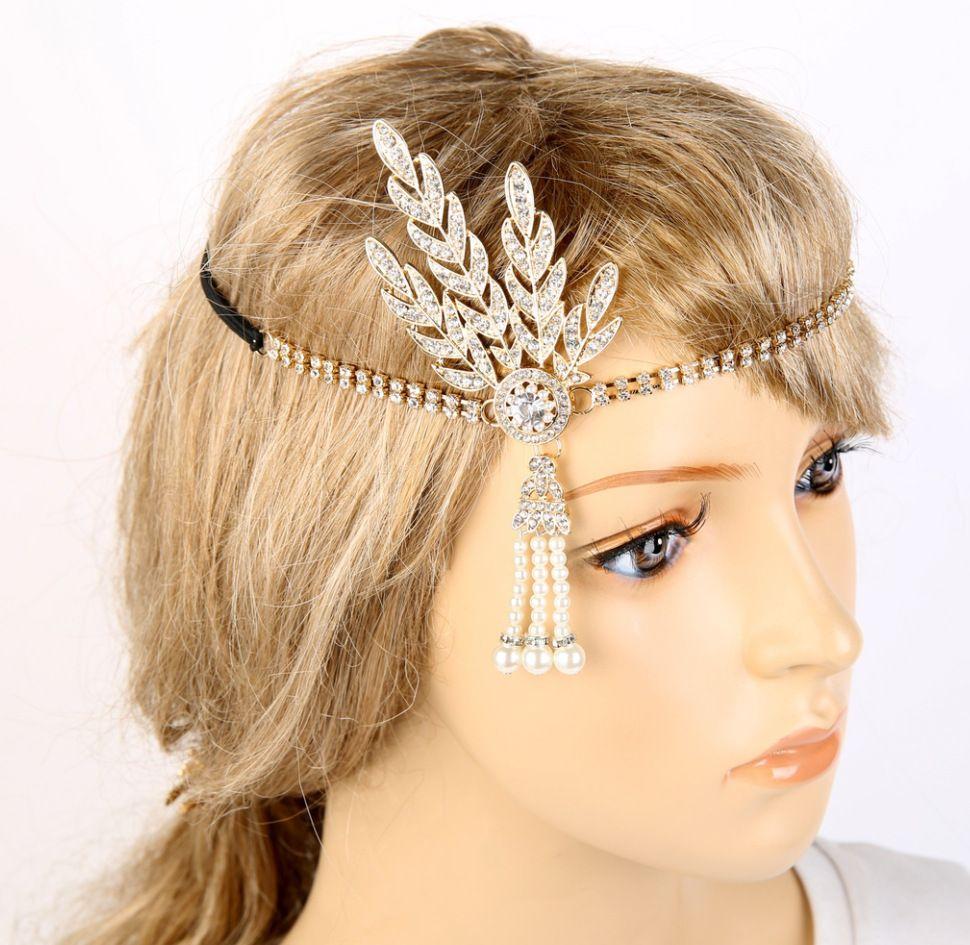 Rhinestone cristalino de la vendimia señoras de la mujer hairband de la venda gran Gatsby tocados para el cabello accesorios 4 colores