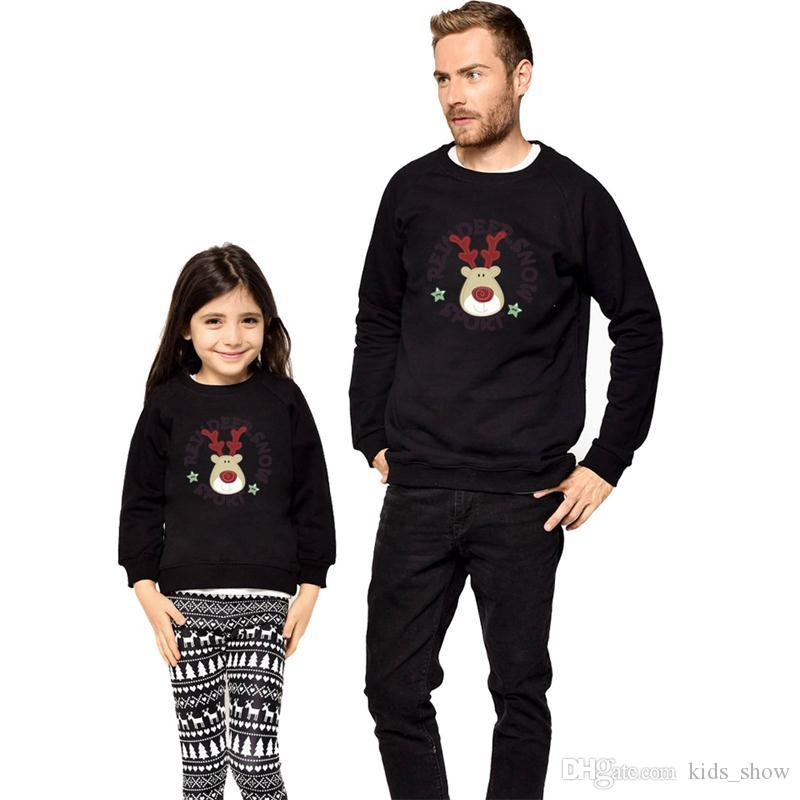 Christmas Family Matching Outfits Cartoon Long Sleeve Deer Print Tops Father Son Boys Mother Daughter Shirt Pullover Winter