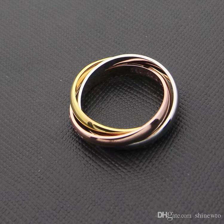 أزياء الرجال / النساء 316l التيتانيوم الصلب 3 دوائر 3 اللون 3in1 الزفاف الاشتباك 18 كيلو مطلية بالذهب خواتم مجتمعة Size5-11