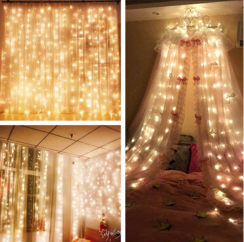 9.8 X 9.8ft Cortina Icicle Lights 310 LED 8 modos Starry Fairy Lights para decoración de regalo cama de boda Canopy Garden Patio