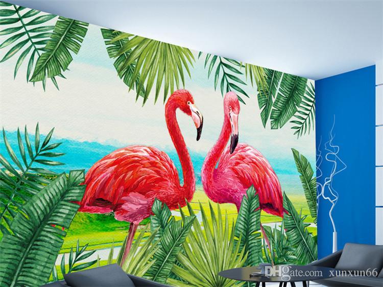 Pastoral Flamingo Tropical Rainforest Mural Background custom photo mural wallpaper large papel de parede 3 wall paper