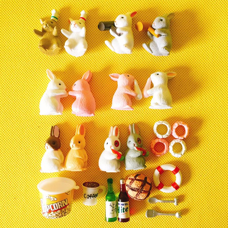 Novo ~ 24 Pcs coelho / coelho / fada jardim gnome animais / musgo terrário casa decoração de mesa / bonsai / casa de boneca / miniaturas / diy suprimentos