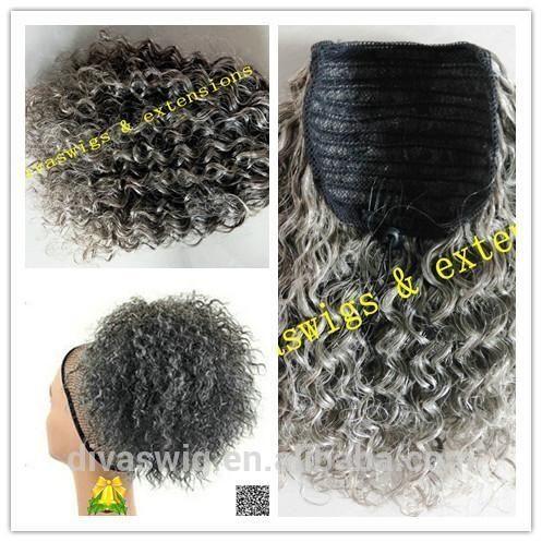 Due toni ombre vergini grigio capelli soffio grigio argento capelli umani coda di cavallo capelli pezzo due pettine 14 pollici