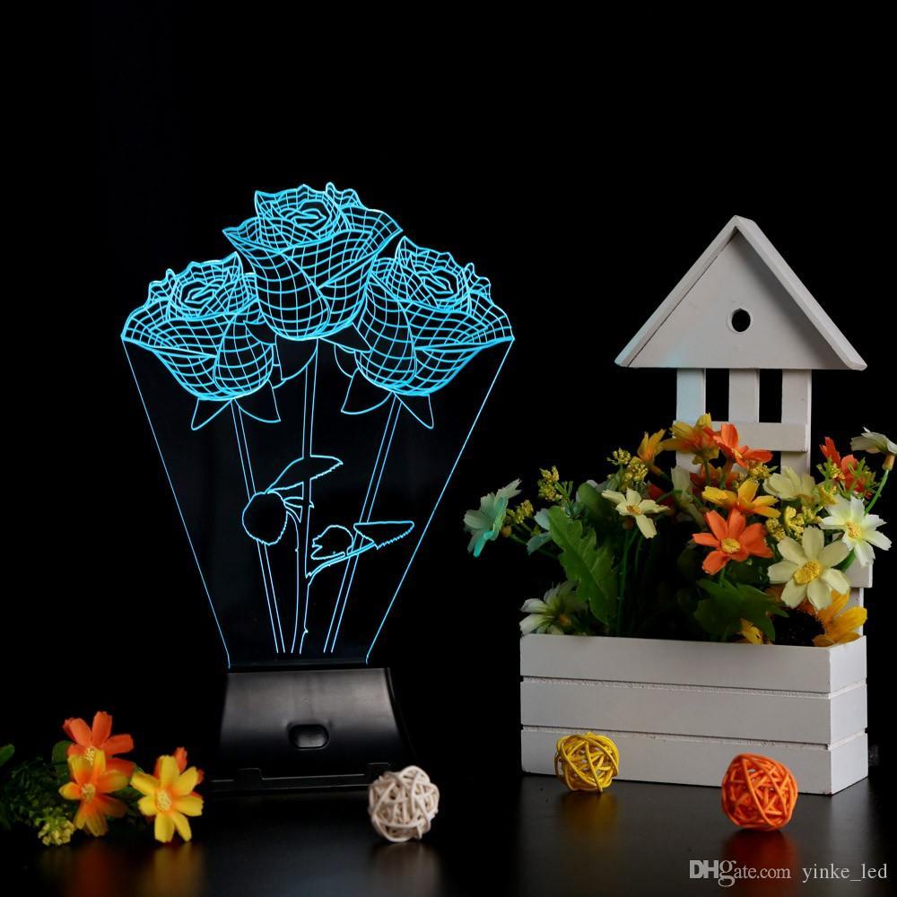 3D LED Night Light Rose Flowers Shape Illusion Magical Nightlight Wedding Christmas Romantic Lights Wedding Gift Desk Table Bedside Lamp