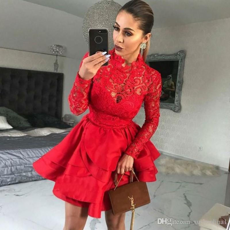 Red Lace Tiered Homecoming Dress High Neck Long Sleeves Lace Appliques Satin Mini Party Gown Cocktail Dress Sexy Short 2018 Prom Dresses
