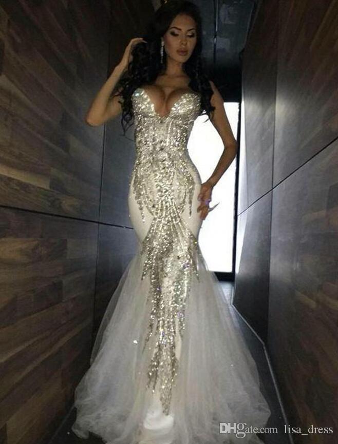 2018 Yeni Lüks Bling Sparkle Gelinlik Mermaid Beyaz Derin V Yaka Boncuklu Kristal Uzun Tül Balo Elbise Abiye giyim