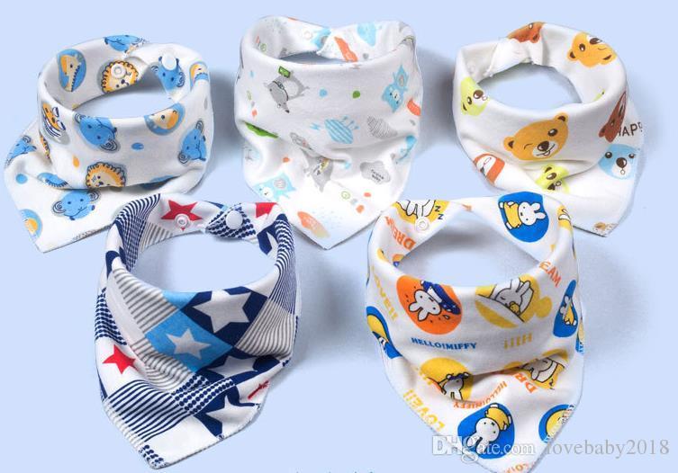Cotton Triangle Bibs Newborn Baby Girls Boys Double Layer Scarf Cartoon Baberos Character Muffler Animal Print Burp Cloths Promotional Gifts