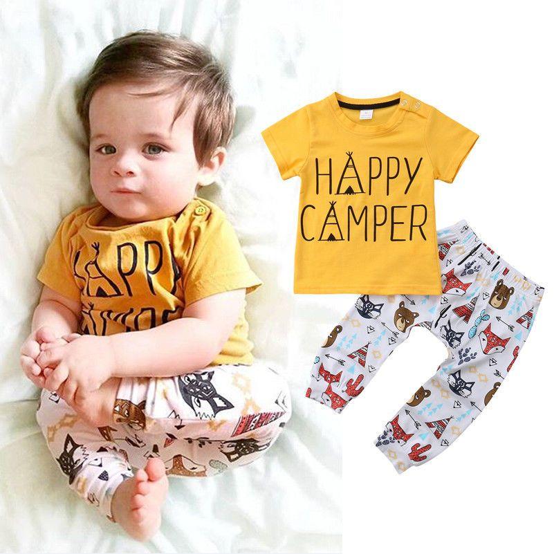 신생아 아기 소년 동물 노란색 옐로우 티셔츠 + 바지 2PCS 세트 복장 편지 인쇄 캐주얼 아동복 의상 유아 아기 부티크 0-24M