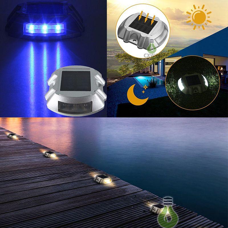 Solar Powered Road Stud luz do convés Driveway Caminho Da Escada Luzes Studs marcador caminho Luz 6 LED Branco Vermelho Azul Amarelo