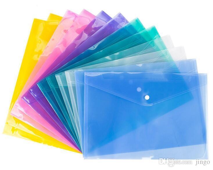 A4 ملف مجلد وثيقة حقيبة بلاستيكية شفافة غلق بمشبك زر تصنيف تخزين القرطاسية حقيبة ملف nn الايداع الإمدادات 1 وحدة = 12 قطع = 1 اللون