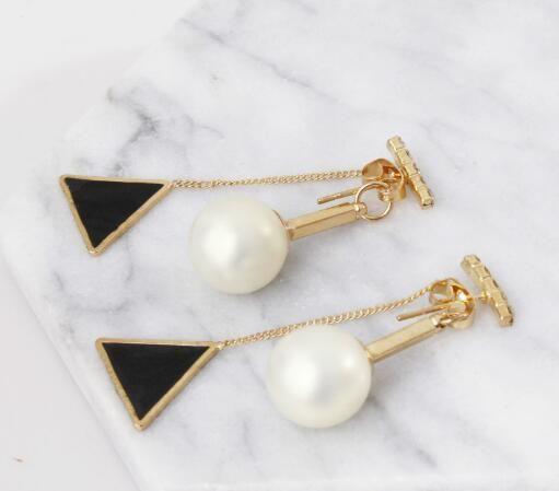 new South Korean pop lady pearl delta tassel multi-color earrings pearl earring studs back pendant fashion designer earrings