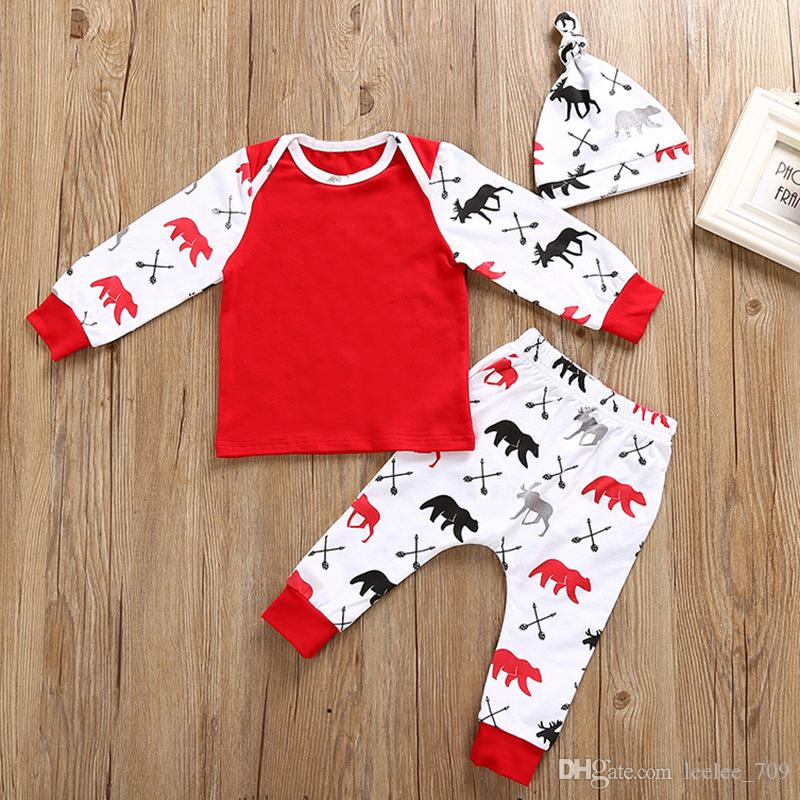 Toddler Boy Christmas Pajamas.2018 Christmas Pajamas Set Baby Toddler Boys Girls Clothes Set Sleeve T Shirt Pants Hat Kids Outfits Set Baby Clothes Children Clothing From