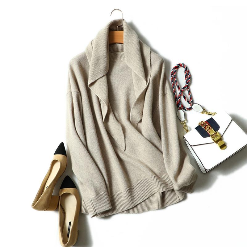 100 % 캐시미어 스웨터 여성 목도리 디자인 솔리드 오 넥 긴 소매 3 색 숙 녀 품질 Pullovers 니트 2018 새로운 패션