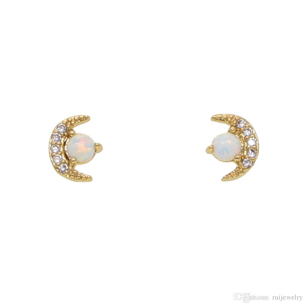 Мода стильный 100% стерлингового серебра 925 Crescent CZ Луна безель опал gem серьги тонкий ювелирные изделия для сладких девочек серьги