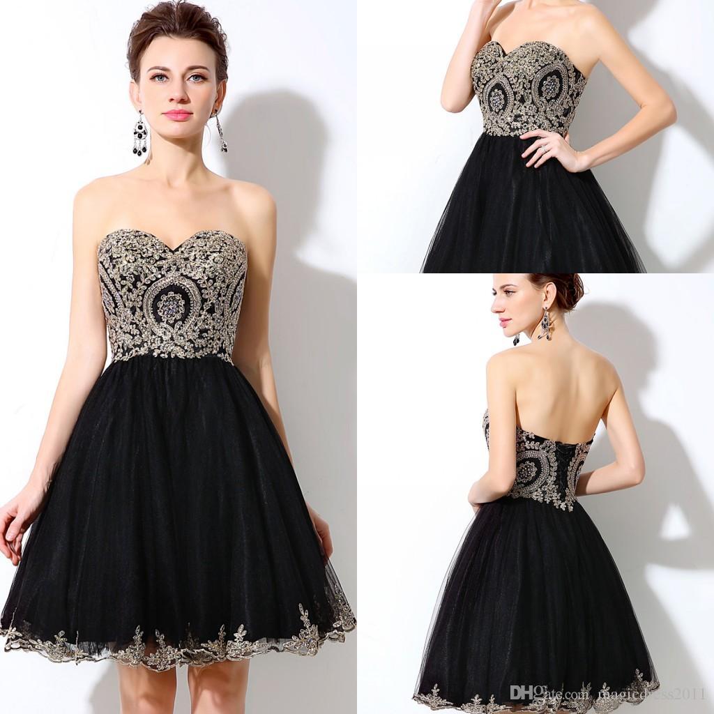 2019 Barato Sexy Sweetheart A-line Vestidos de Fiesta Negro Tulle Luxury Crystal Gold Lace Girls Vestidos de baile formal Vestidos de noche