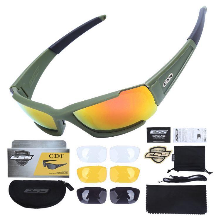 ESS Güneş Gözlüğü CDI Değiştirilebilir Lensler ile Taktik Siyah Yeşil Karki Açık Spor Bisiklet güneş gözlüğü JP518