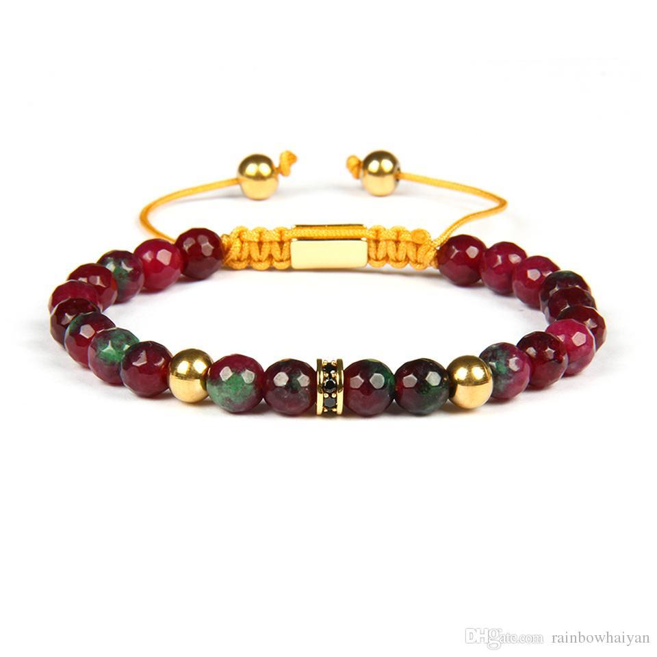 Vente chaude Couples Bracelets Micro Pave Noir Cz Spacer Perles Bracelets En Macramé Avec 6mm Naturel À Facettes Rose Pierre Perles