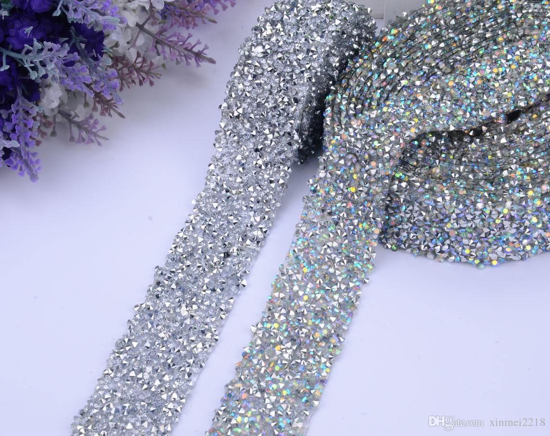 исправление блеск платье горный хрусталь мотивы ленты Кристалл железа на патчи аппликация strass швейная ткань 3 см ширина