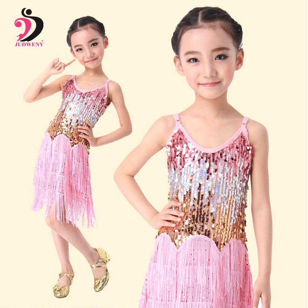 여자 볼룸 댄스 드레스 라틴 댄스 드레스 어린이를위한 어린이 전문 라틴어 장식 조각 프린지 살사 술 6 색