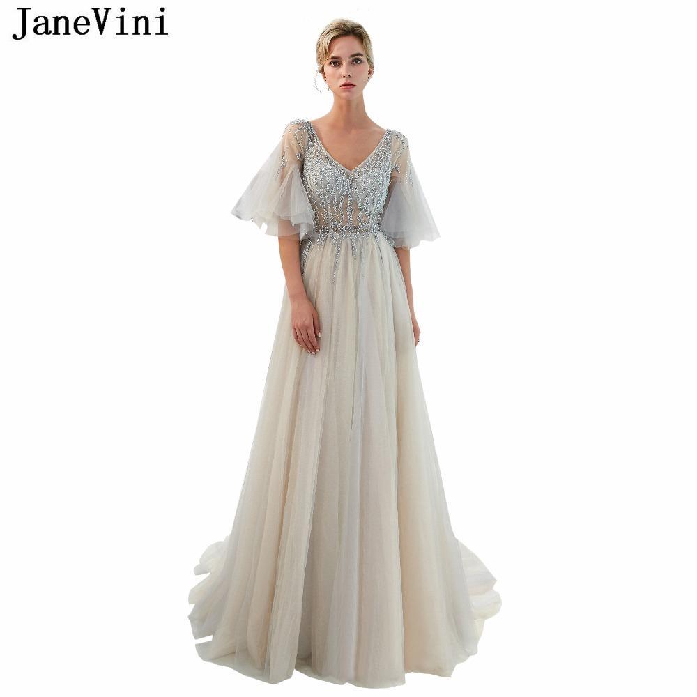 vendita all'ingrosso di perline di lusso grigio lungo abiti da damigella d'onore una linea scollo av alta divisa prom dress illusione di tulle donne abiti da festa formale