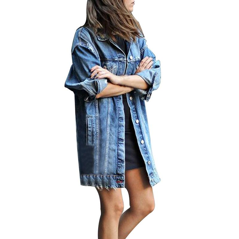 Denim Jackets Women Hole Boyfriend Style Long Sleeve Vintage Jean Jacket Denim