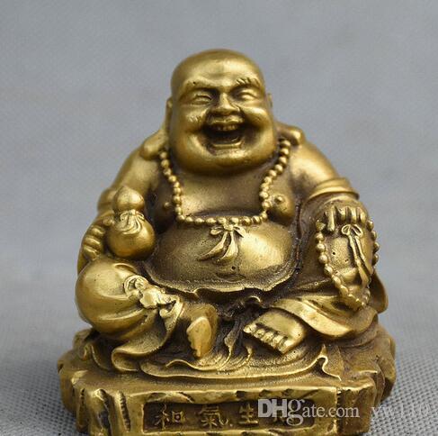 중국 불교 사원 황동 앉아 행복 웃음 Maitreya 부처님 조롱 동상
