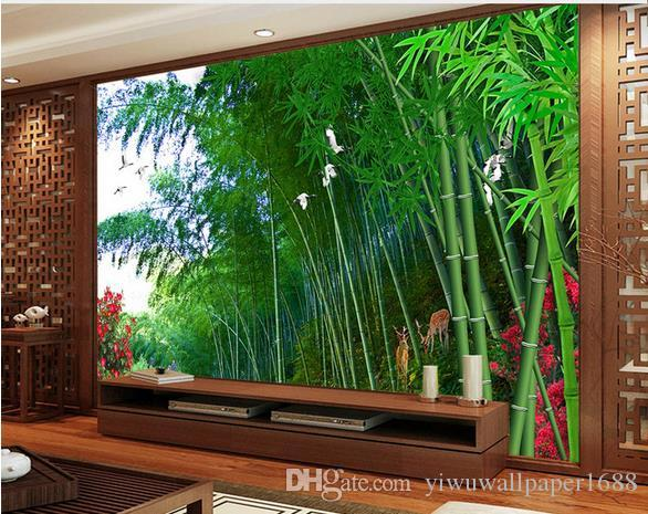 HD Bamboo Forest Dove TV Background Wall 3d wallpaper custom mural peacock