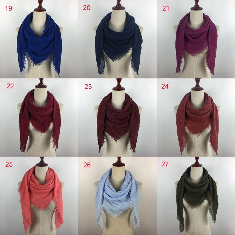 Plain cotton crinkle scarf 95x95cm 2018 new design suqare hijab lady women shawl 32 colors for your choose