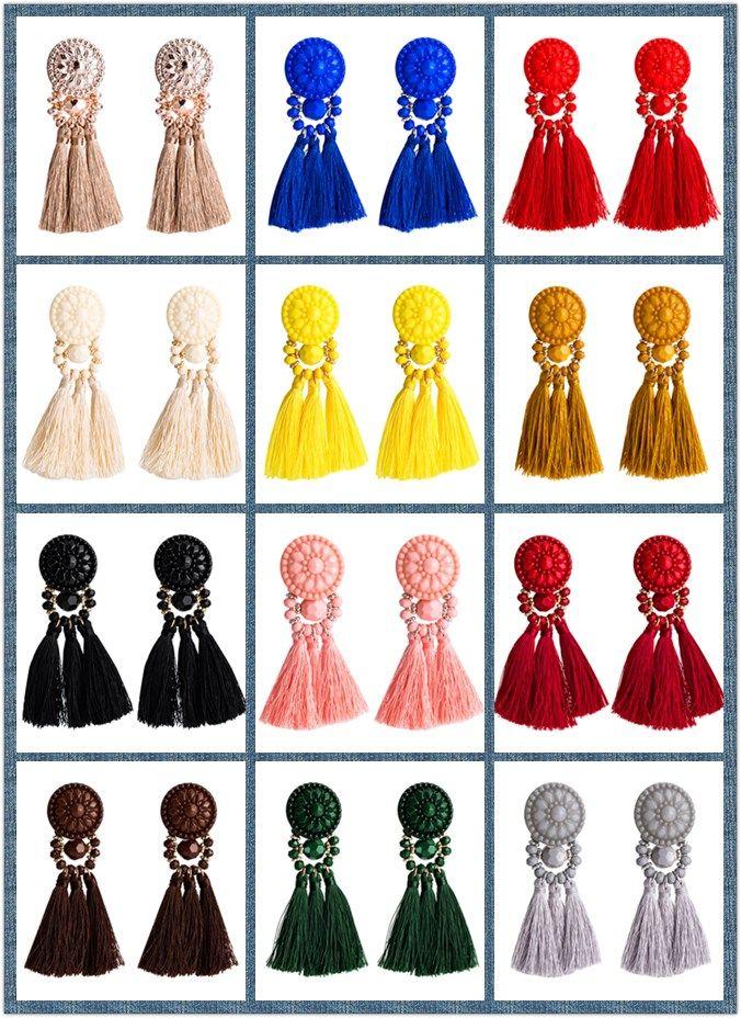 9.5cm Vintage 12 cores Cotton Multi-camada de tecido brincos de borla Resina Chandelier Bohemia Punk oscilam étnico para mulheres
