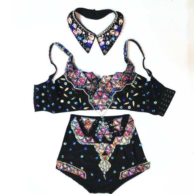 Sexy Frauen-Tanz-Abnutzungs-Strass-Ausstattungs-Customized-BH mit hohen Taille Shorts Luxus Kristalle Barock Sänger Kleidung Set